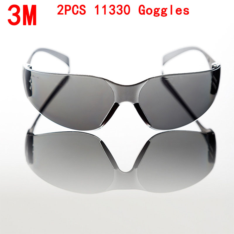 3M 2PCS 11330 protective glasses safety PC gray wind ipl safety glasses The brace Uv protection laser goggles Free Shipping
