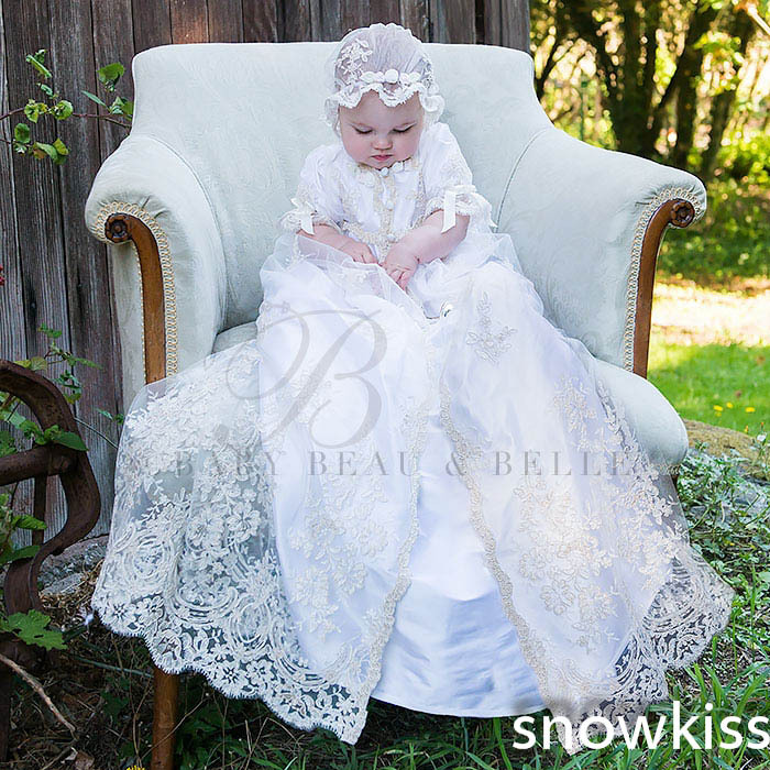 Half Sleeves Lace Baby Boys Girls Infant Outfit Heriloom Dress Dedication Baptism Gown Long christening gowns With Bonnet 2016 lace appliques baby boys girls infant outfit heriloom dress dedication baptism gown long christening gowns with bonnet