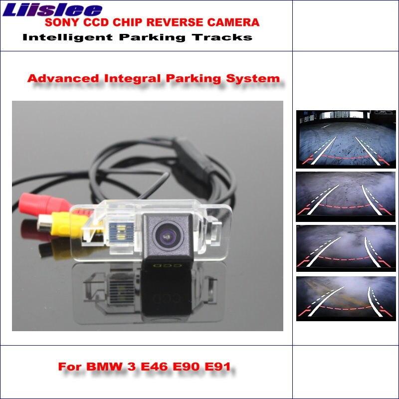 Liislee Intelligent Parking pistes voiture caméra arrière pour BMW 3 E46 CSL E90 E90N E91 sauvegarde inverse/NTSC RCA AUX HD SONY