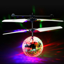 Flying LED toys RC Colorful Crystal Ball Aircraft Induction Helicopter Quadcopter Kids Light Up Toys Chrismas Gift Drop Ship