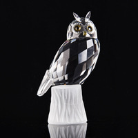 K9 Crystal Glass Owl Family Figurines Miniatures Lovely Ornament Home Decor Creative Animal Crafts Home Decor Accessories Gift