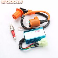 scooter performance 6 pin racing ac cdi ignition coil spark plug for gy6  50cc 125 150cc atv 139qmb 152qmi 157qmj scooter parts