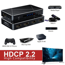 HDMI Switch 4K SGEYR Intelligent 4-Port Switcher Splitter Supports Full HD1080p 3D With IR Remote Adapter