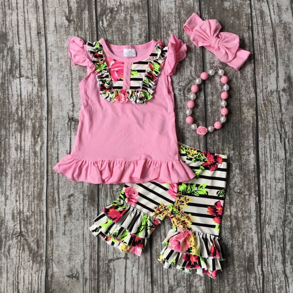 summer girls boutique clothes pink floral striped shorts cotton ruffles outfits  with matching accessories necklace and bow set 2016 summer baby child girls outfits ruffles shorts white striped watermelon boutique ruffles clothes kids matching headband set