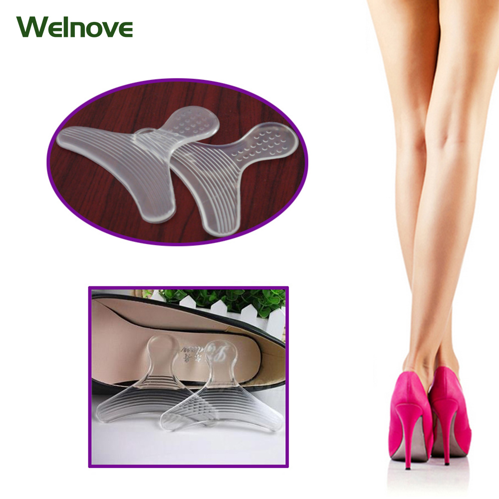 2Pcs Rearfoot Invisible Silica Gel Stickers Transparent Slip-resistant Shoes Stickers High Heel Shoe Pad Insoles Foot Care Z0710