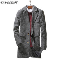 2017 Spring New Fashion Clothing Jacket Men Wool Coat Single Breasted Pea Coats Men Long Wool