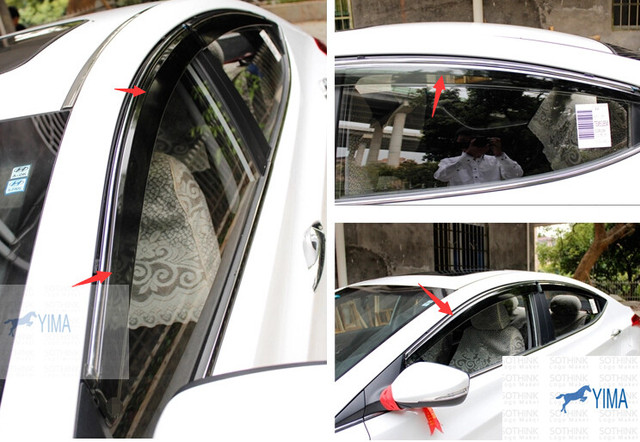 Interior ! 4 Pcs For Hyundai Elantra Avante Sedan 2011-2014 Window Visors Awnings Wind Rain Deflector Visor Guard Vent