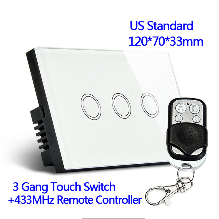 US Standard 433MHz Remote control Wall Touch Switch Luxury White Crystal Glass, Normal 3 Gang 1 Way Switch With Pilot white 3 gang remote control light switch crystal glass screen switch wallpad luxury us au led touch switch with remote control