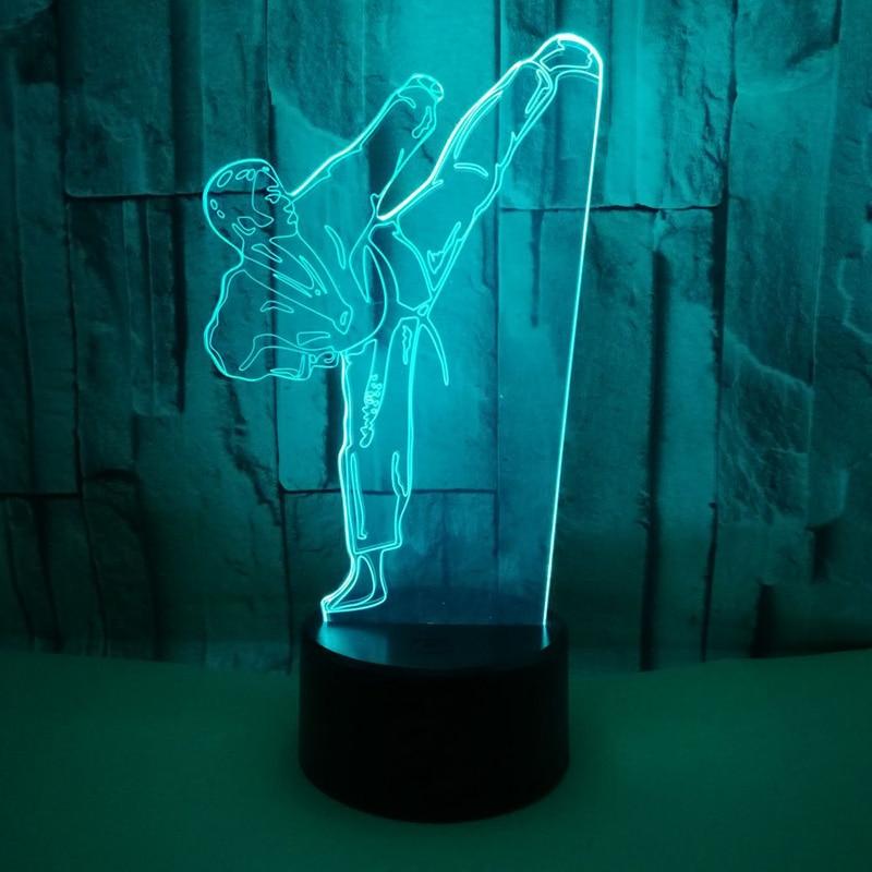 Night Light Creative 3D LED Light Vision Gradient Karate Table Lamp USB Taekwondo Modelling Bedroom Lighting Decor For Gifts Kid