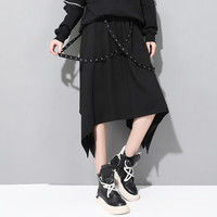 Women Elastic Waist Loose Casual Ribbons Spliced Black Irregular Skirt Female Streetwear Punk Gothic Skirts
