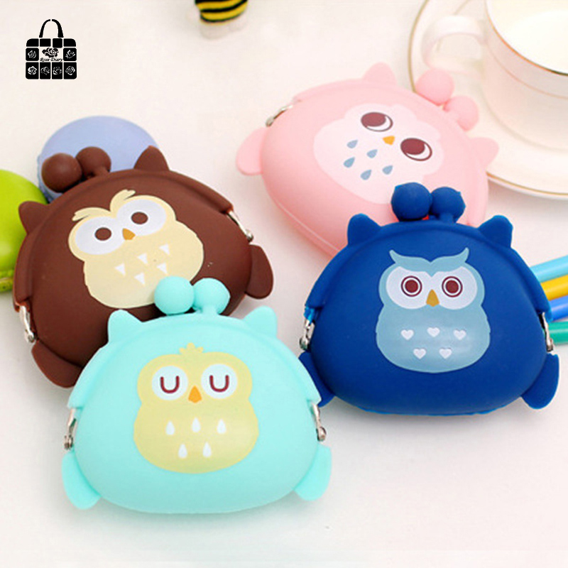 1 pcs RoseDiary coin purses,lovely cartoon owl silicone zero wallet child girl women change purse,lady zero wallets,coin bag