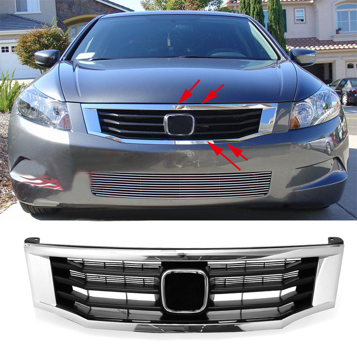 Car Front Bumper Hood Grille Molding Cover Black Exterior Bumpers For Honda for Accord 2008 2009 2010