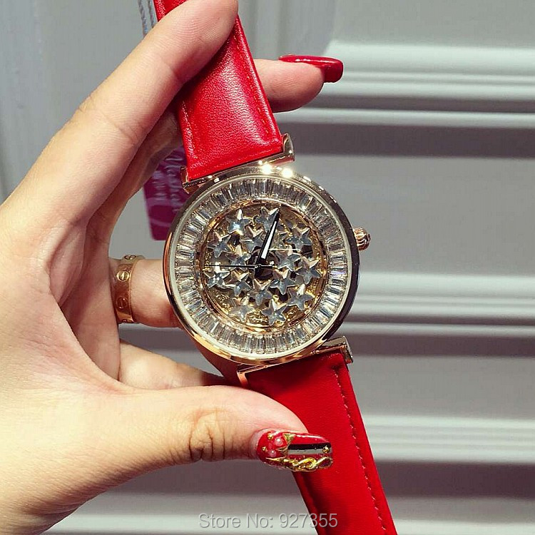ФОТО 6 Colors New Style Quality Women Watches Luxury Rhinestone Wristwatch Lady Crystal Dress Watch Female Genuine Leather Band Watch