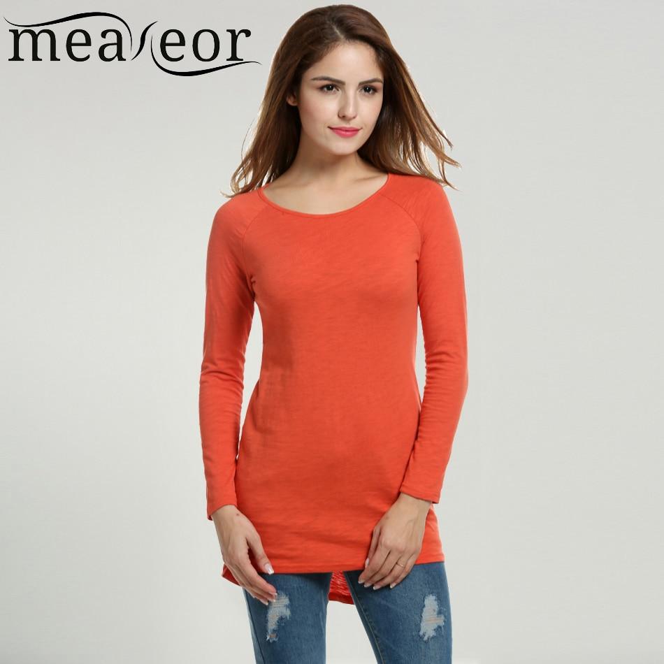 Meaneor women casual long long t shirt raglan long for Long sweaters and shirts