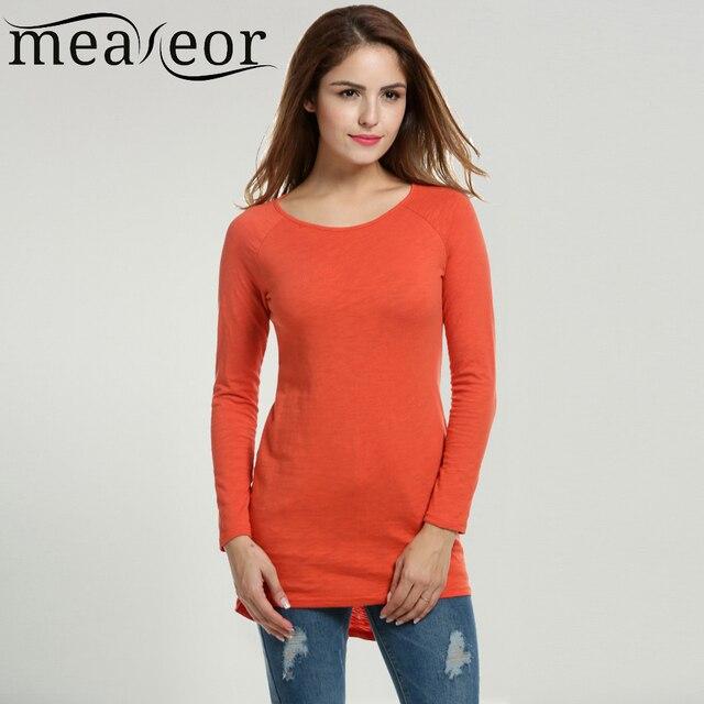 Meaneor mujeres raglan manga larga cuello redondo camiseta larga ocasional Solid Delgado Alto Bajo Hem Tops Estilo Encima de La Rodilla de La Muestra clothing