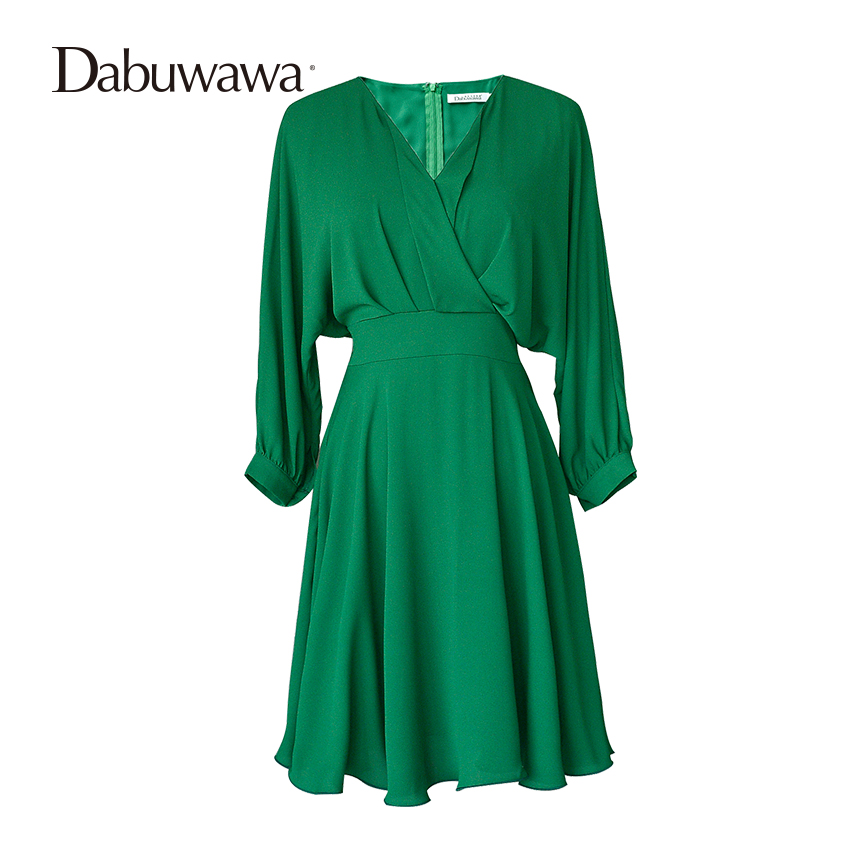 Dabuwawa Green Autumn Long Sleeve Chiffon Dress V Neck Batwing Sleeve Bow Vintage Dress