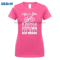 GILDAN Bicycle To Keep Your Balance You Must Moving Black T Shirt Womens 2018 Male T