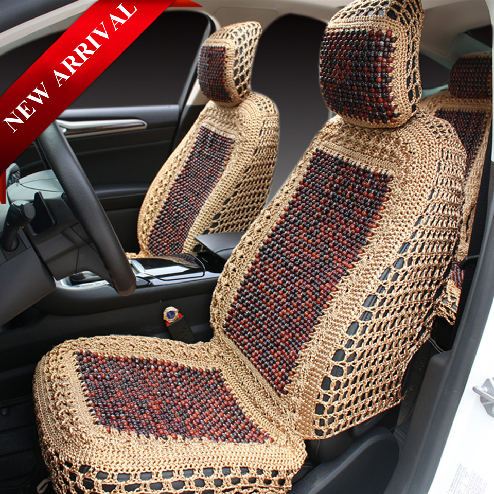 Car Hand Woven Seat Cover Set With Wood Beads Full Seat