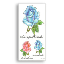Waterproof Tattoo Stickers watercolor Hand draw style red blue Rose Temporary fake Tattoos Women sexy Body Art Ornament girl(China)