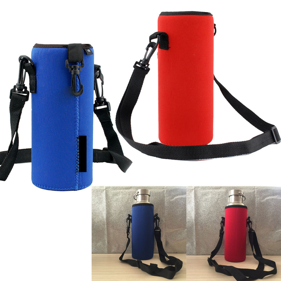 Water Bottle Carrier Insulated Cover Bag Holder Strap Pouch Outdoor Camping