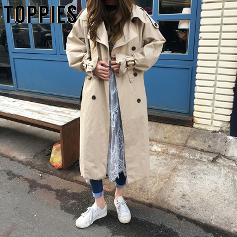 Trench   Coat Oversized Double Breasted Women Long Coat Windbreaker Female 2019 Autumn Outwear Loose Clothing