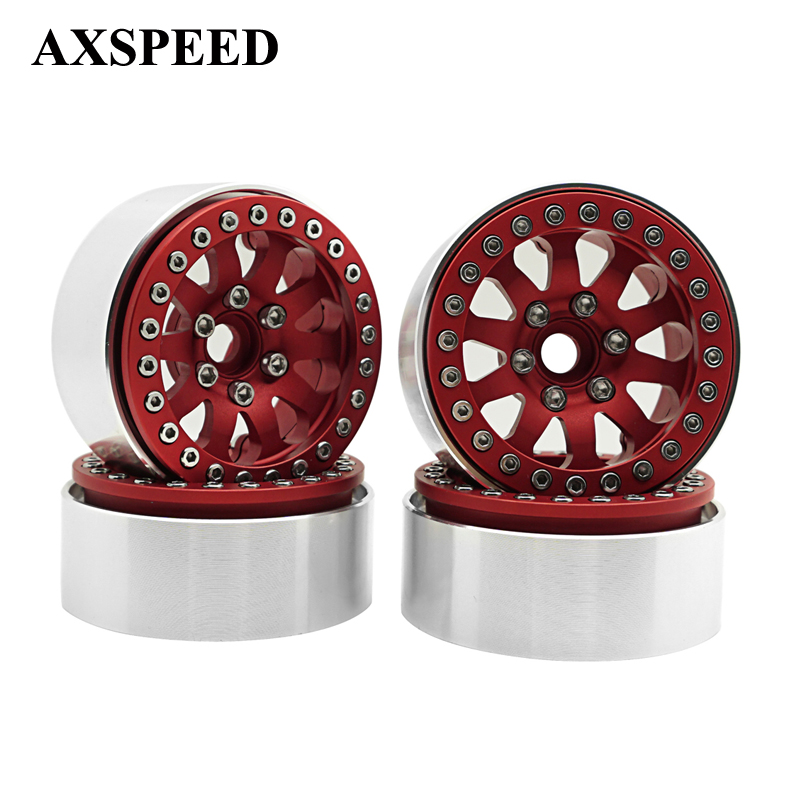 4pcs SCX10 RC4WD 1:10 Crawler Car Wheels Rims 1.9 Alloy Beadlock Wheels Hub RC Rock Crawler Car Parts