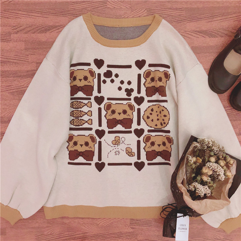 Autumn Japanese Kawaii Women Sweater Winter Warm Sweet Vintage Knit Pullover Lolita Girl Long Sleeve Cute