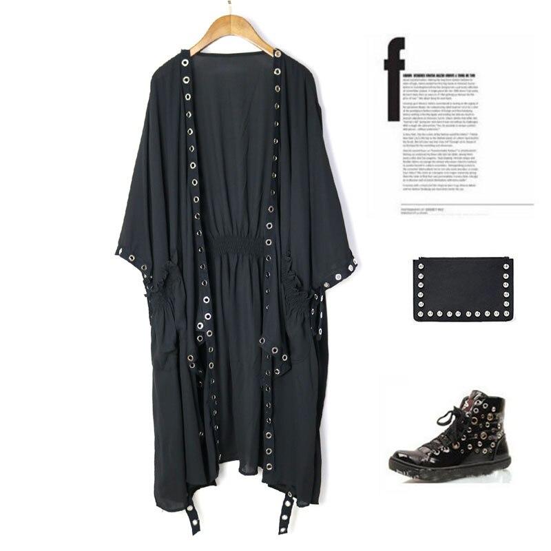 Boho Vintage femmes lâche Blouse Kimono poncho cape longue crème solaire en mousseline de soie cardigan