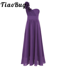 4-14 Years Old Girls Dress Chiffon One-shoulder Girls Dress Pageant Wedding Bridesmaid Birthday Party Dress Ball Gown Prom Dress