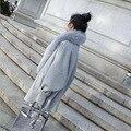 Venta caliente 2016 Otoño Invierno Versión Coreana Gran Capullo de Tipo Capa Gris Abrigo de Piel Las Mujeres Abrigo de Invierno de Buena Calidad mantener El Calentamiento