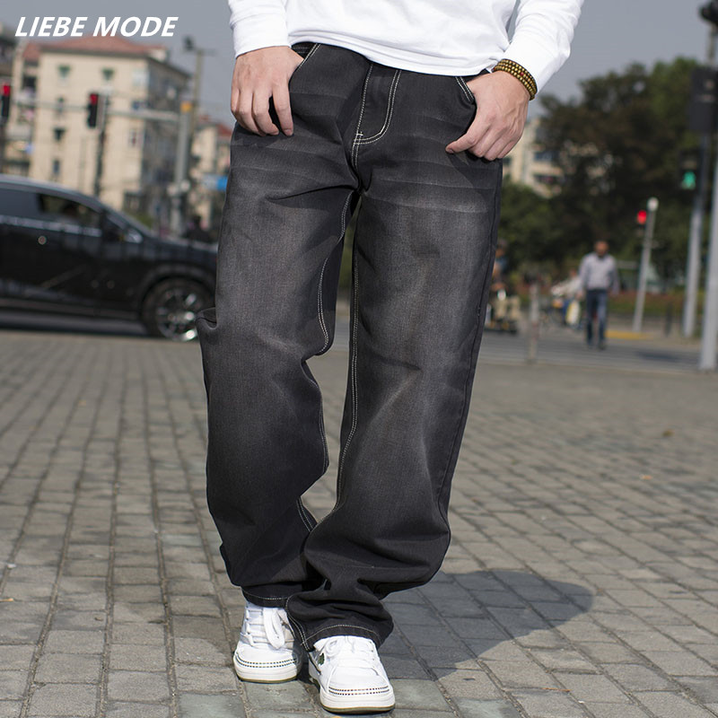 2016 European Style Plus Size Mens Loose Fit Jeans Brand High Quality Hip Hop Baggy Black Jeans Men Denim Overalls Size 42 44 46