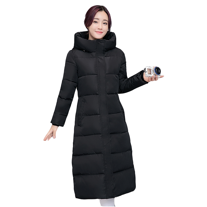2017 Winter Women Thick Warm High Quality Cotton-padded Coat Slim Wadded Jacket Parka Long Fashion Female Hooded Overcoat YP0374 high quality thickening warm parka hooded women winter jacket snow wear female long slim winter cotton padded wadded coat cm1490