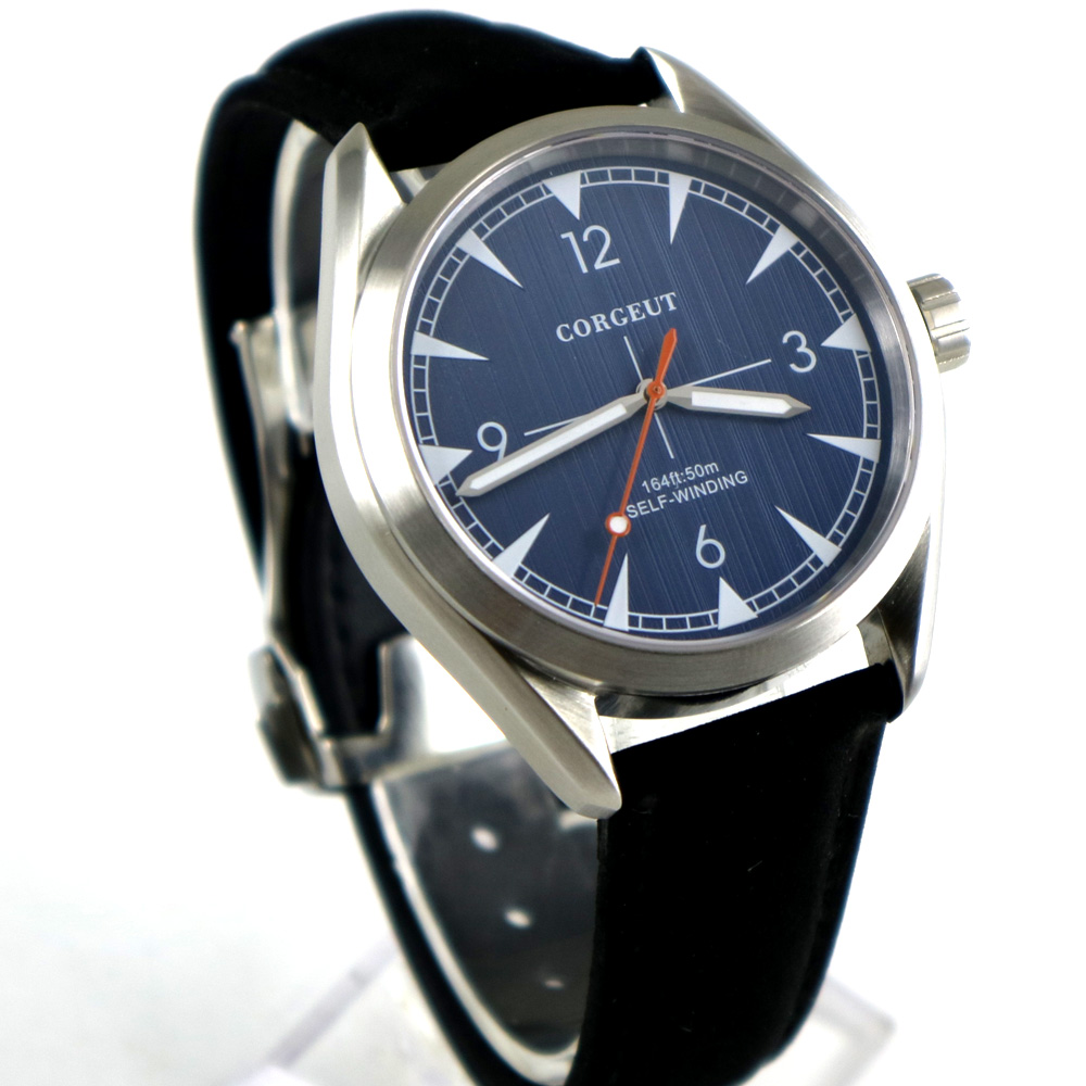 brushed 39mm corgeut blue dial Black strap Sapphire Glass miyota 821A automatic mens Watch цена и фото