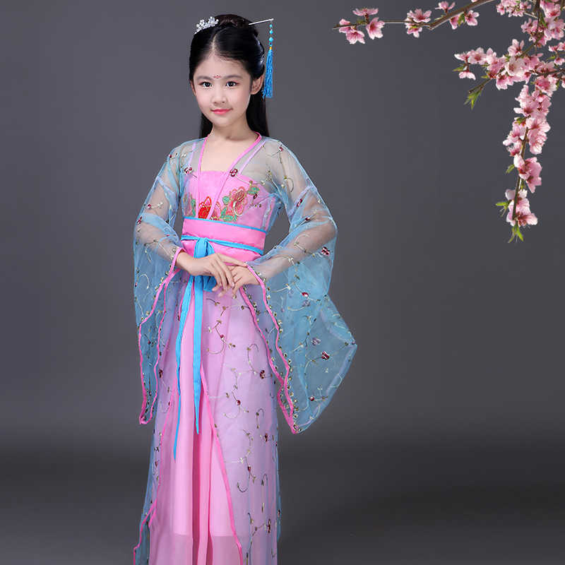 0a0fd512b94f ... traditional chinese folk dance Ancient Clothing Fairy dance costumes  hanfu dress tang dynasty costume girls children ...