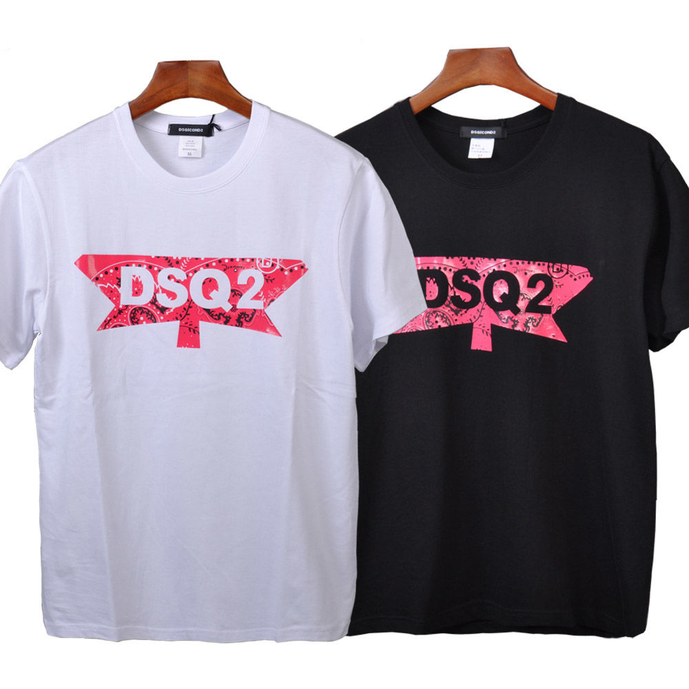 DSQICOND2 New DSQ2 Letter Cotton Short Sleeve   T     Shirt   for Men Women Summer Mesh Baseball Cap Snapback Casual Outdoor Dad Hat Set