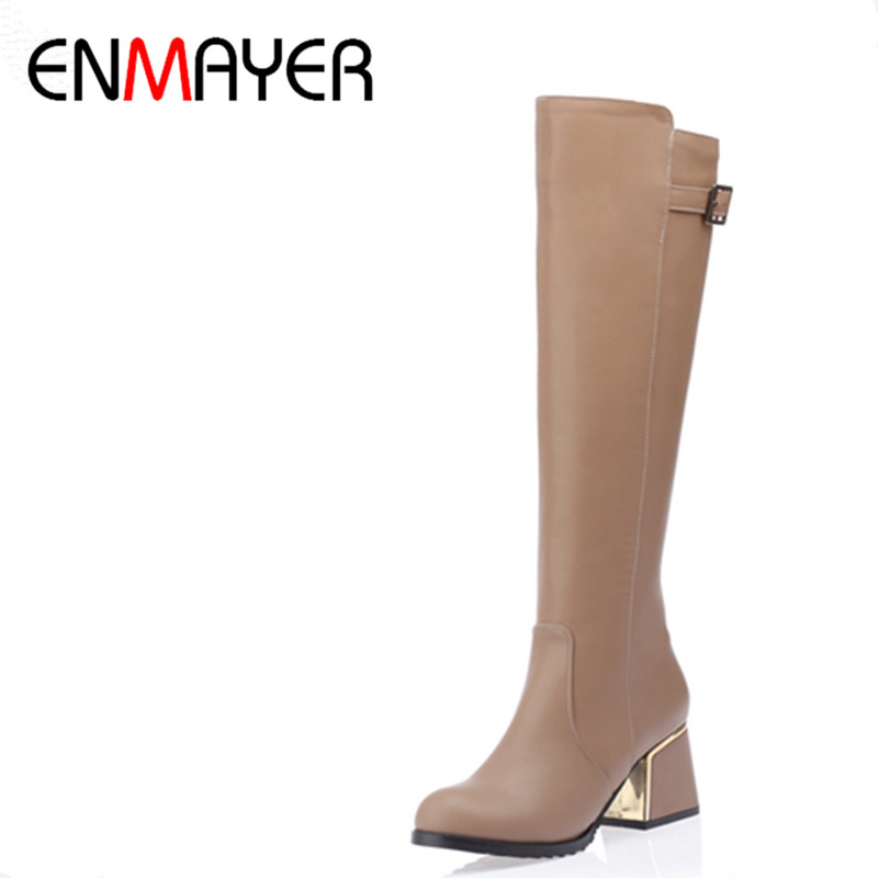 ФОТО ENMAYER Women High Heels Knee-high Boots Shoes Woman Spring &Autumn White Shoes Winter Warm fur Boots Zippers Fashion Boots
