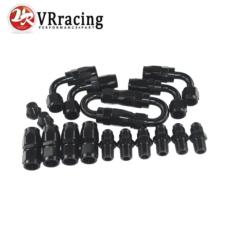 VR - 6 AN AN-6 Straight / 90 /180 Degree Aluminum Swivel Hose End Fitting Adapter Oil Fuel Line + NPT PLUG VR-SL10NPT-BK