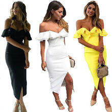 2018 Hot Explosion Word Shoulder Sexy Double Flounce Pack Hip Front Split Dress and Calf Long Ruffled