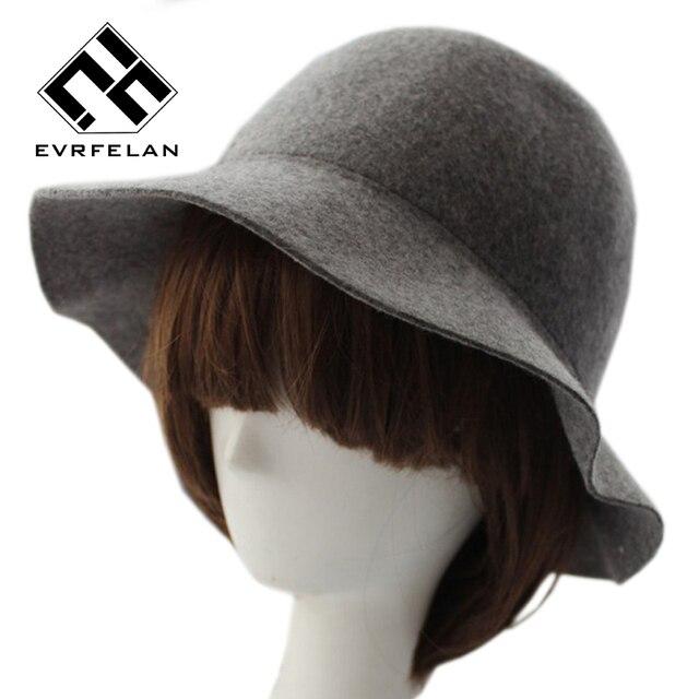 699ddd937a Elegant British Style Soft Wide Brim Pure Wool Felt Bowler Hat Fedora Dome Bucket  Hat For Women Floppy Cloche chapeu feminino