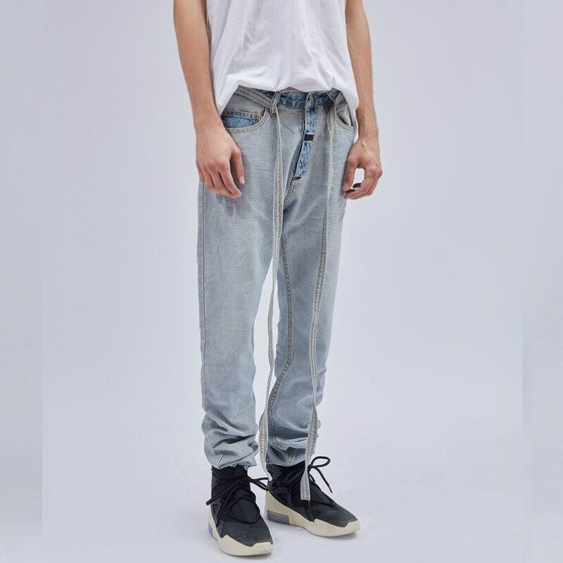 19ss high quality Latest INS Hip Hop Inside Out Slim Jeans Detachable Belted Denim Biker Pants Vintage Light Blue Jogger pants