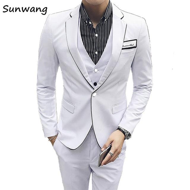 38fcb227d64 Autumn Winter Mens Clothing British style Slim Fit design Men Suits Wedding  Men s Single button suit Blazer (Jacket+vest+Pants)