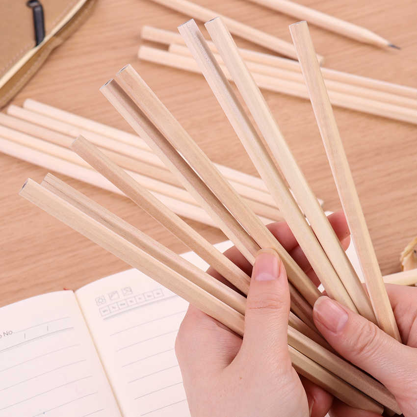 6PCS New Eco-Friendly Natural Wood Pencil HB Blank Hexagonal Non-Toxic Standard Pencil Cute Stationery Office School Supplies