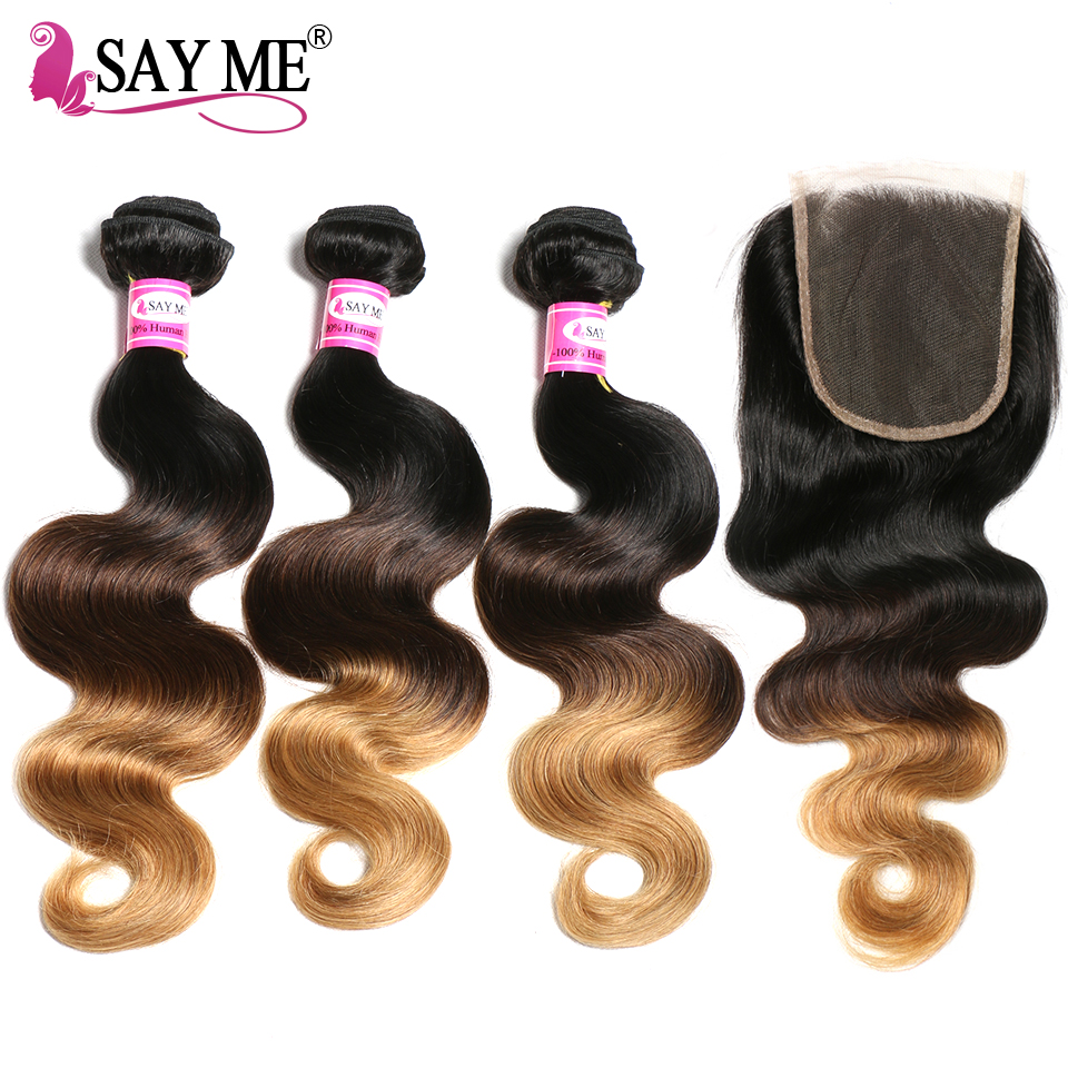 3 Bundles Ombre Brazilian Hair Body Wave With Closure Human Hair Weave 1b/4/27 4x4 Free Part Non Remy Lace Closure SAY ME Hair