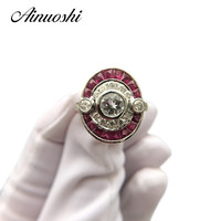 AINUOSHI Fashion 14K White Gold Lady Engagement Ring Natutal White Aquamarine Ruby Wedding Anniversary Diamond Ring Jewelry Gift