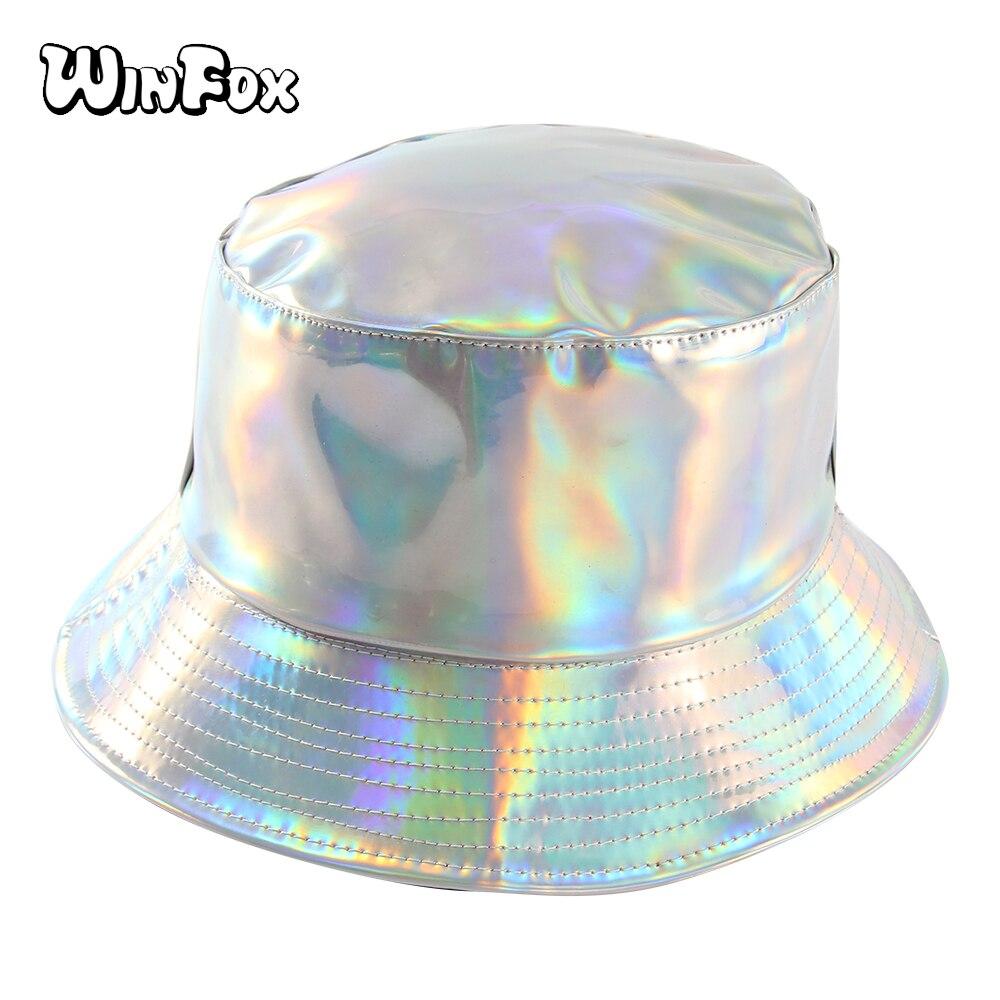 Winfox Nova Moda Dupla Face Brilhante Balde Chapéus Das Mulheres Dos Homens  do Hip Hop Bobs Panamá Boonie Hat Cap Pescador Chapéu de Viagem Ao Ar Livre 1bac43ecfc5