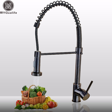 Deck Mounted Pull Down Kitchen Sink Faucet One Handle Spring Hot and Cold Water Tap Back Bronze Bathroom Kitchen Crane