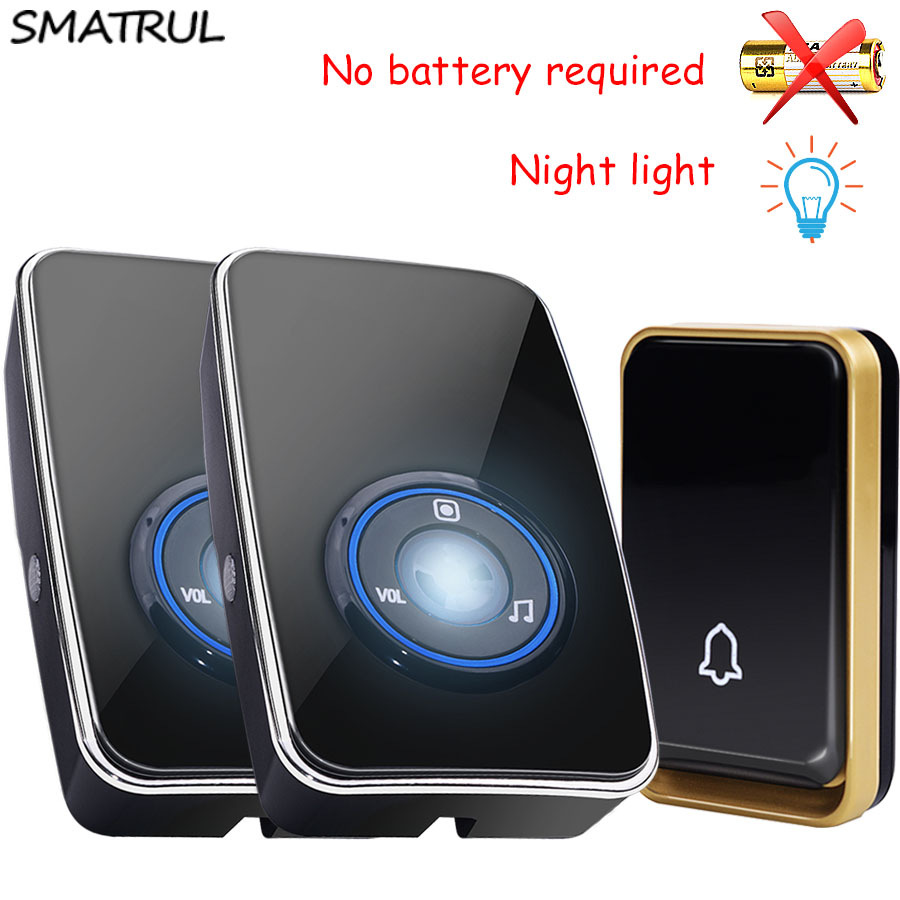 SMATRUL Wireless DoorBell UK EU US plug self powered night light sensor Waterproof no battery home Door Bell 1 button 2 Receiver touch sensor design waterproof wireless doorbell eu us uk au plug home led light door bell ac220v with 1ring button 2receivers