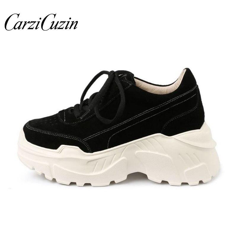 Carzicuzin femmes chaussures vulcanisées en cuir véritable couleur unie fond épais chaussures décontractées plate-forme extérieure baskets femmes taille 34-39