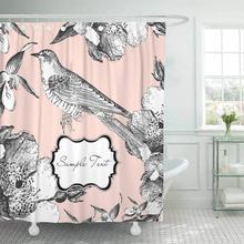 Cortina de ducha con ganchos Rosa Vintage glamoroso con pájaro flor francesa clásica línea lindo Retro decorativo Baño