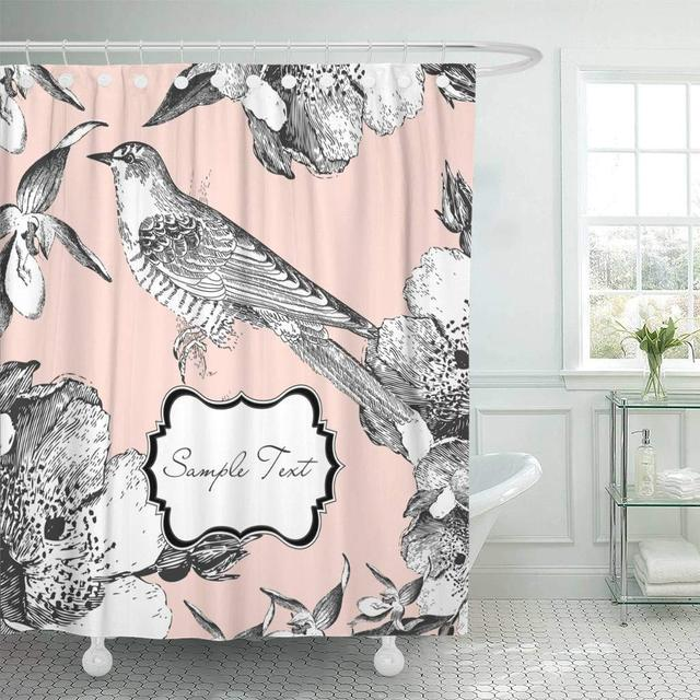 Shower Curtain With Hooks Pink Vintage Glamorous Bird French Flower Floral Classic Line Cute Retro Decorative Bathroom